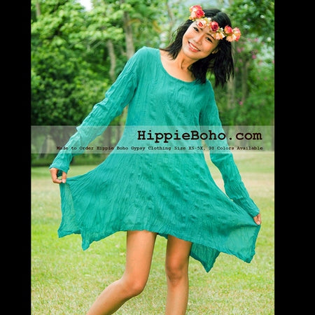 No.330 - Size XS-7X Hippie Boho Bohemian Gypsy Turquoise Long Sleeve Tunic Plus Size Dress Lightweight Cotton
