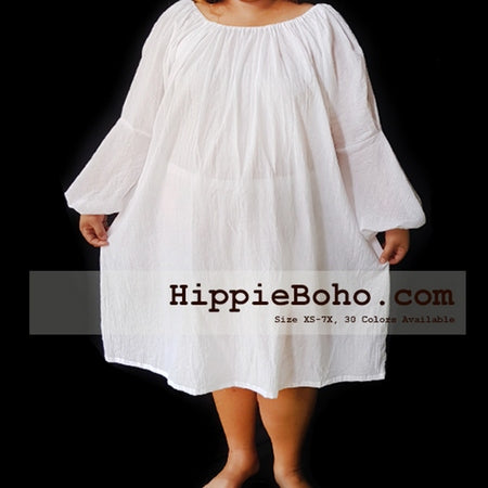 9a98bfe2f6d No.120 - XS-7X Hippie Boho Bohemian Gypsy White Long Sleeve Peasant Tunic  Super Extended Plus Size Maternity Dress Lightweight Cotton