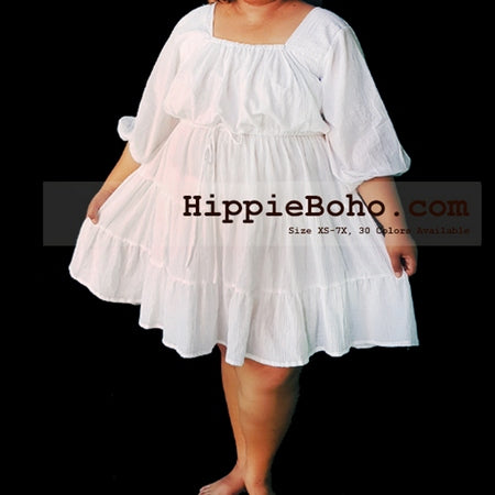 No.101  - Size XS-7X White Curvy Big Size Hippie Boho Bohemian Gypsy Peasant 3/4 Sleeve Plus Size Sundress Tiered Mini Skirt