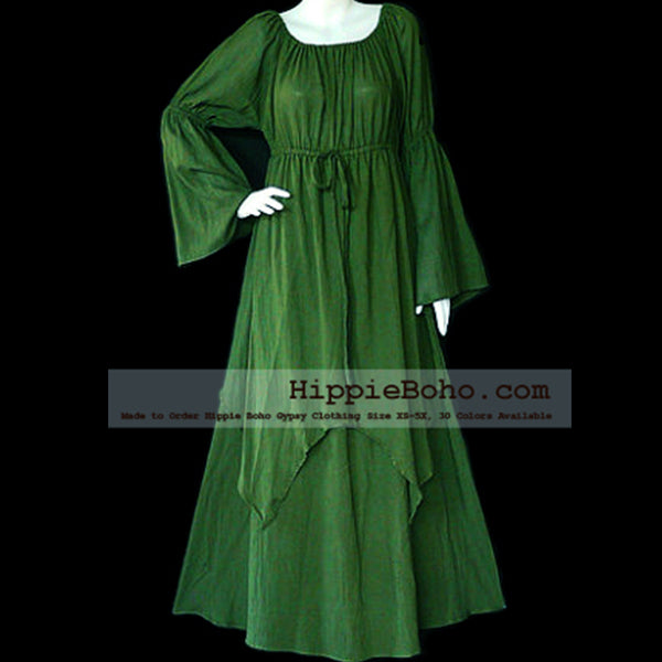 No.041 - Size XS-7X Hippie Boho Clothing Gypsy Long Sleeve Bell Sleeve Olive Green Plus Size Costume Full Length Maxi Dress