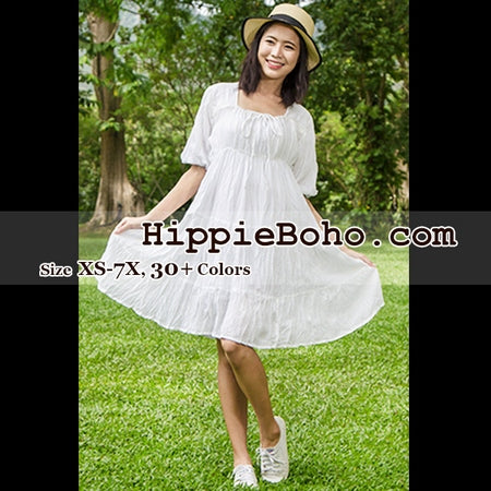 No.101  - Size XS-7X Hippie Boho Bohemian Gypsy White Peasant 3/4 Sleeve Plus Size Sundress Tiered Mini Skirt