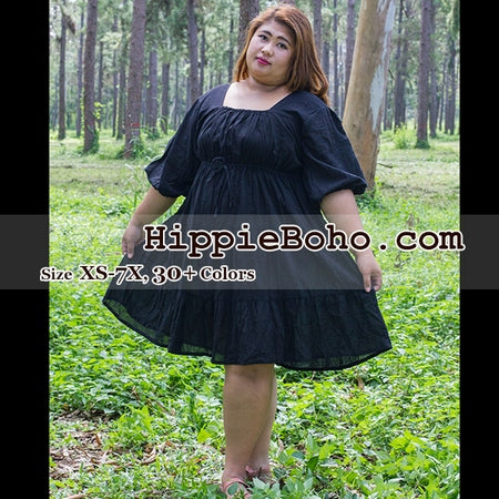 No.101  - Size XS-7X Black Curvy Big Size Hippie Boho Bohemian Gypsy Peasant 3/4 Sleeve Plus Size Sundress Tiered Mini Skirt