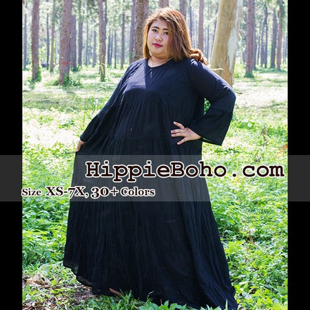 No.103 - Size XS,S,M,L,1X,2X,3X,4X,5X,6X, 7X Plus Size Curvy Bell Long Sleeve Tiered Maxi Dress Boho Gypsy Hippie Style Women's Clothing