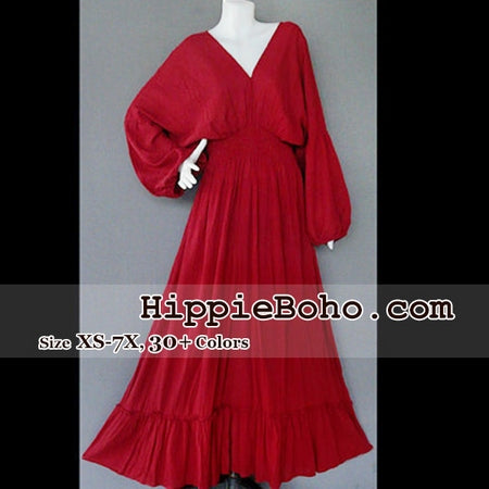 No.004  - Size XS-5X Hippie Boho Bohemian Crimson Burgundy Caftan Long Kimono V Neck Maxi Dresses Women's Plus Size Clothing