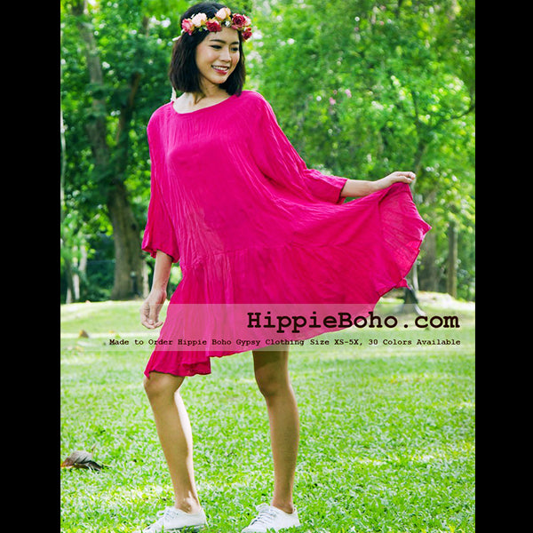 a060aca82391d No.051 - XS-7X Hippie Boho Bohemian Gypsy Hot Pink 3 4 Sleeve Tunic Plus  Size Maternity Dress Lightweight Cotton