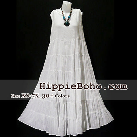 No.005  - Plus size Gauze Dresses  White Cotton Maxi Long Dress Bohemian Summer Clothing Tiered Full Length Women's Dress Hippie Boho Gypsy Style