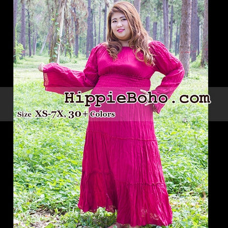 43bcf07ce0c No.163 - Size XS-7X Crimson Red Plus Size Women s Clothing Bohemian Peasant  Bell Long Sleeve Tiered Maxi Dress Boho Gypsy Hippie Style