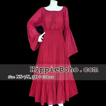 No.163 - XS-7X Crimson Red Plus Size Women's Clothing Bohemian Peasant Bell Long Sleeve Tiered Maxi Dress Boho Gypsy Hippie Style