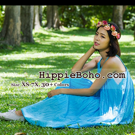 No.015 - Size XS-7X Hippie Boho Clothing Gypsy Aqua Maxi Plus Size Strap Dress Maxi Long Dress