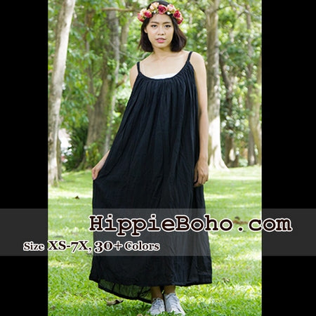 b56bb3edfca No.164- Size XS-7X Hippie Boho Clothing Gypsy Black Maxi Plus Size Strap Dress  Maxi Long Dress