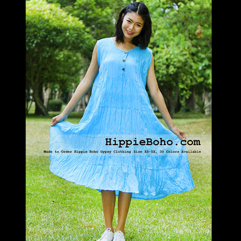 No.075 - Size XS-7X Hippie Boho Clothing Gypsy Aqua Plus Size Sleeveless Peasant Tiered Mini Dress