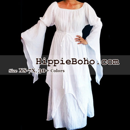 No.306  - Size XS-7X Hippie Boho Bohemian Gypsy White Long Sleeve Plus Size Sundress Pixie Funky Full Skirt