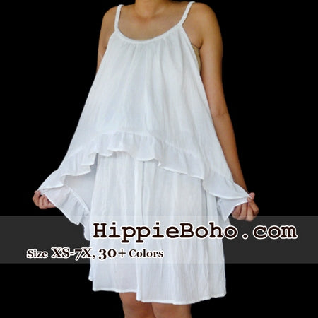 No.346 - Size XS-7X Plus Size White Strap Vest Hippie Gypsy Bohemian Summer Clothing
