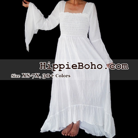 6a1517f97c No.349 - Size XS-7X Hippie Boho Gypsy Bohemian Bell Wide Sleeve White Maxi  Dress Plus Size Women's Long Dress