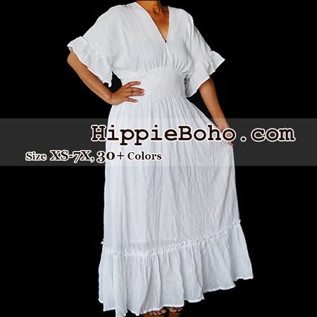 No.010  - Size XS-5X Hippie Boho Caftan White Pagan Greek Kimono Costume Gauze Maxi Dresses Women's Plus Size Clothing Bohemian Long Dress