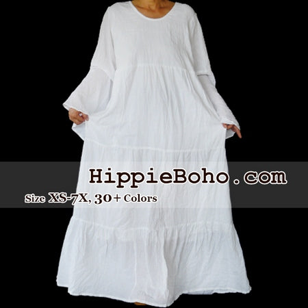 No.457  - Size XS-7X Hippie Boho Bohemian Gypsy White Long Sleeve Plus Size Sundress Tiered Peasant Full Skirt