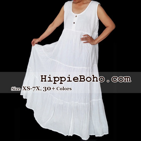 no 459 plus size white cotton sleeveless maxi long dress bohemian