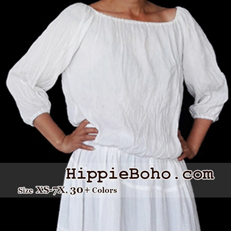 No.460  - Size XS-7X White Hippie Boho Bohemian Gypsy Casual Peasant Tops  Blouse 3/4 Sleeve Plus Size Clothing