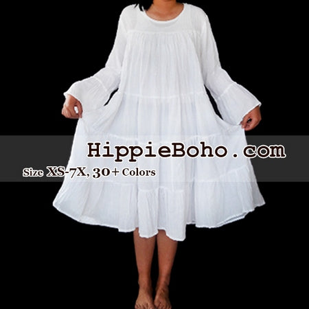 a6ef5d73ef87 No.473 - Size XS-7X Hippie Boho Bohemian Gypsy White Peasant Bell Long  Sleeve Plus Size Sundress Tiered Mini Skirt