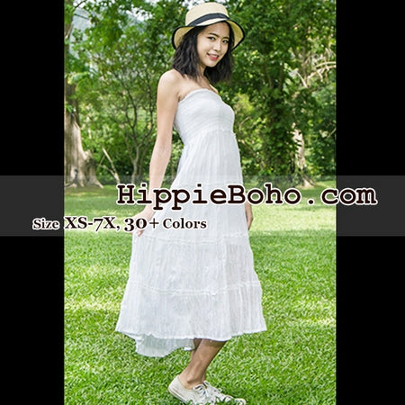 No.011 - Boho Hippie Strapless White Sundress or Peasant Maxi Tiered Long Skirt Full Length Plus Size Women's Clothing XS,S,M,L,1X,2X,3X,4X,5X