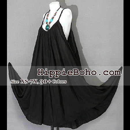 No.015 - Size XS-7X Hippie Boho Clothing Gypsy Maxi Plus Size Strap Black  Dress Maxi Long Dress