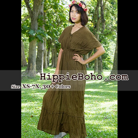 f6f9386260e5f No.016 - Size XS-5X Hippie Boho Bohemian Brown Gypsy Plus Size Caftan  Kimono Maxi Dresses Women s Plus Size Clothing
