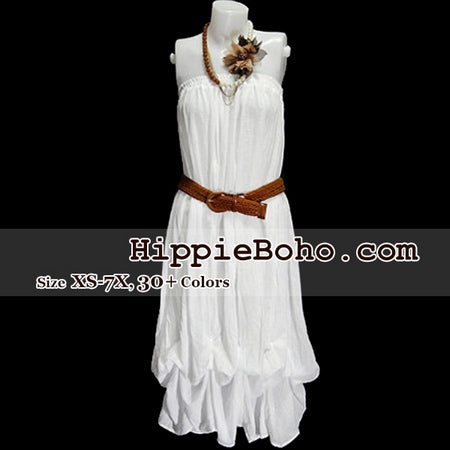 No.017  - Hippie Boho Gypsy White Pumpkin Dress or Maxi Full Long Length Skirt Plus Size Women's Clothing
