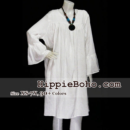 No.018  - Plus Size White Tunic Dress with Bell Long Sleeves  Mini Dress Women's Dress Hippie Boho Gypsy Style