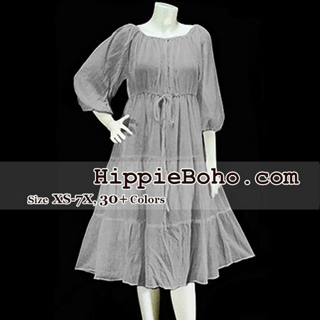 No.001 - Size XS-7X Hippie Boho Gypsy Violet Misses & Extended Plus Size Peasant 3/4 Sleeve Sundress Tiered Mini Dress