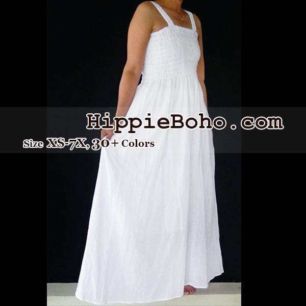 7614e31c54289 No.012 - Size XS-7X Hippie Boho Clothing Gypsy White Plus Size Strap Summer  Maxi Dress
