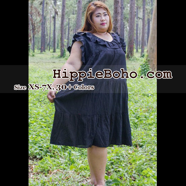 No.014 - Size XS-7X, 30 Colors, Boho Gypsy Curvy Plus Size Black Cotton Gauze Knee Length Dress Summer Clothing