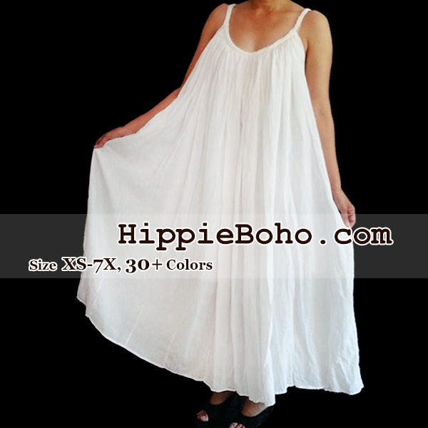 No.015 - Size XS-7X Hippie Boho Clothing Gypsy White Plus Size Strap Summer Maxi Dress, S,M,L,1X,2X,3X,4X,5X,6X,7X Dress