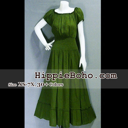 5fa4f774ace No.039 - Size XS-5X Hippie Boho Clothing Gypsy Olive Green Plus Size  Babydoll Peasant Tiered Maxi Dress