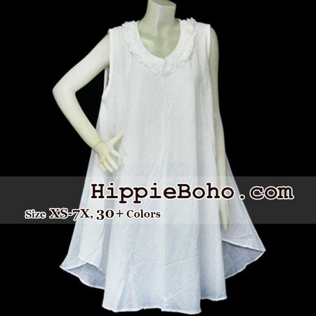 No.044 - Size XS-5X Hippie Boho Bohemian Gypsy White Tunic Plus Size Maternity Sleeveless Dress Gauze Cotton