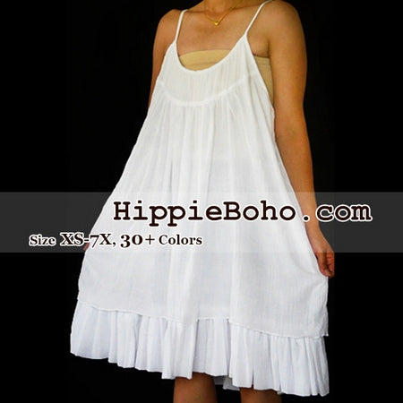 No.053 - Size XS-5X Handmade Hippie Boho Clothing Gypsy White Mini Plus Size Strap Dress Women's Clothing