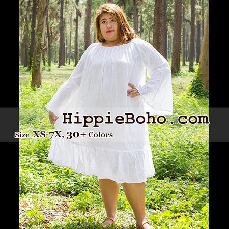 No.057 - Size XS,S,M,L,1X,2X,3X,4X,5x,6X, 7X Hippie Gypsy Boho Plus Size Curvy Women's Dress Clothing White Gauze Cotton