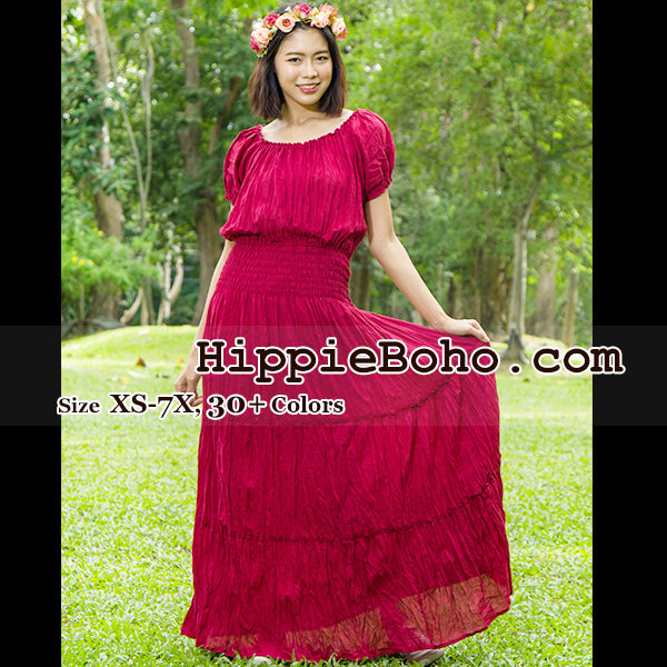No.22 - Bohemian Red Dress, Plus Size Hippie Dress, Gypsy ...