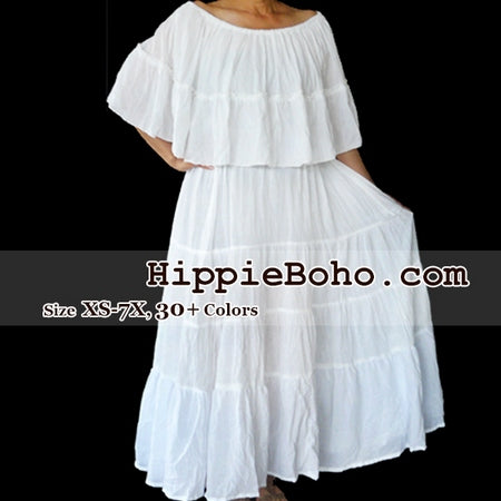 No.059  - Size  XS,S,M,L,1X,2X,3X,4X,5X,6X and 7X Tiered Plus Size Curvy Hippie Bohemian Gypsy Simple Wedding Dress White Gauze Cotton