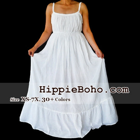 No.066 - Size XS-7X Tiered White Maxi Hippie Boho Gypsy Plus Size Curvy Summer Fashion Outfit Maxi Casual Dress, S,M,L,1X,2X,3X,4X,5X