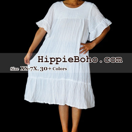 No.076 - Size XS-7X Hippie Boho Clothing Gypsy White Plus Size Short Bell Sleeve Mini Dress