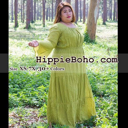 No.086 - Curvy Plus Size XS-7X Light Olive Hippie Boho Bohemian Gypsy Long Sleeve Plus Size Peasant Maxi Long Dress