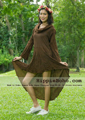 No.432  - Size XS-7X Hippie Boho Gypsy Asymmetrical Long Sleeve Tunic Plus Size Dress Light Weight Cotton