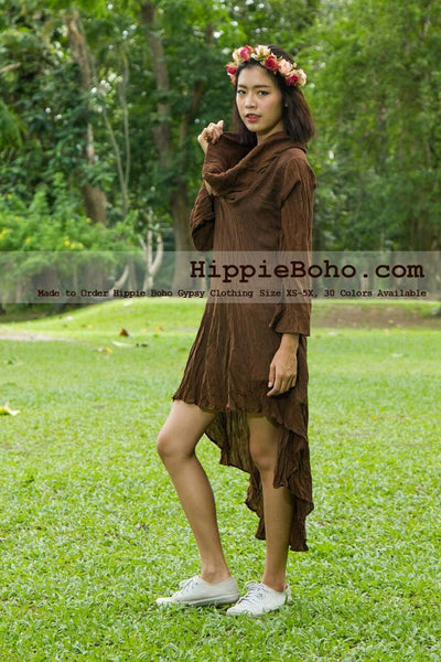 No.432  - Size XS-5X Hippie Boho Gypsy Asymmetrical Long Sleeve Tunic Plus Size Dress Light Weight Cotton