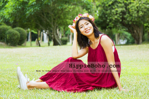 NO.015 - SIZE XS-5X HIPPIE BOHO CLOTHING GYPSY CRIMSON MAXI PLUS SIZE STRAP DRESS MAXI LONG DRESS