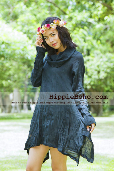 NO.394 - SIZE XS-5X HIPPIE BOHO BOHEMIAN GYPSY BLACK COWL NECK LONG SLEEVE TUNIC PLUS SIZE DRESS LIGHTWEIGHT COTTON