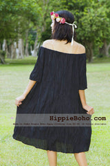 No.007  - XS-7X Hippie Boho Bohemian Gypsy Black Peasant Tunic Plus Size Maternity Dress Lightweight Cotton