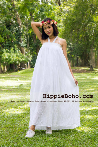 No.058 - Size XS-7X Hippie Boho Clothing Gypsy White Maxi Plus Size Strap Dress, Maxi Long White Dress