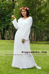 No.453 - Size  XS,S,M,L,1X,2X,3X,4X,5X,6X and 7X Hippie Boho Gypsy Wedding Plus Size White Cotton Long Sleeve Maxi Dress Clothing