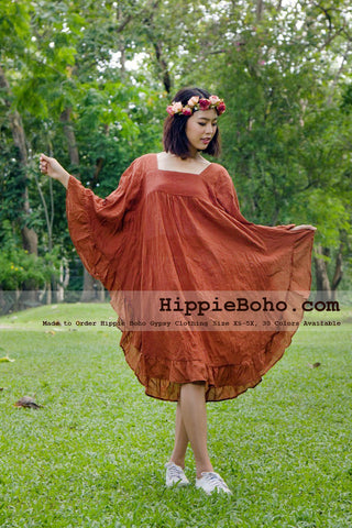 No.454 - XS-5X Hippie Boho Bohemian Gypsy Brick Butterfly Sleeve Tunic Plus Size Maternity Dress Lightweight Cotton