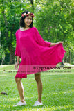 No.051 - XS-5X Hippie Boho Bohemian Gypsy Hot Pink 3/4 Sleeve Tunic Plus Size Maternity Dress Lightweight Cotton